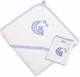"""Kapuzenhandtuch """"Mond und Sterne"""" hellblau mit Waschhandschuh"""