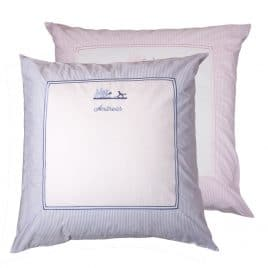 Kissen 80x80 personalisiert Gardenparty Taufkissen hellblau rosa petit filou