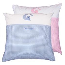 Kissen 80x80 personalisiert Mond und Sterne rosa und hellblau petit filou
